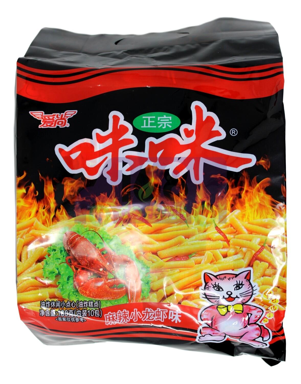 RICE CRACKER WITH CRAWFISH FLAVOR 爱尚 咪咪 麻辣小龙虾味(10小包装)