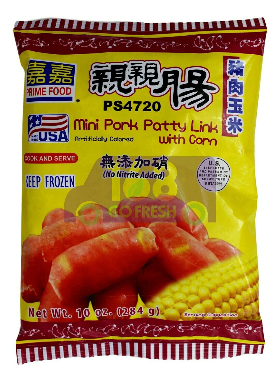 PRIME FOOD MINI CURED PORK PATTY LINK WITH CORN 嘉嘉 亲亲猪肉玉米肠(10OZ)
