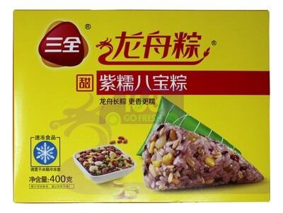 BLACK GLUTINOUS SWEET RICE DUMPLING 三全 龙舟粽 紫糯八宝粽子(400g)