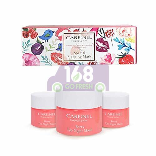 CARE:NEL Lip Sleeping Mask - Strawberry 5g*3ea 韩国凯乐尔免洗睡眠保湿修复唇膜/润唇膏(淡化唇纹/口红打低)-草莓味 5g*3个装
