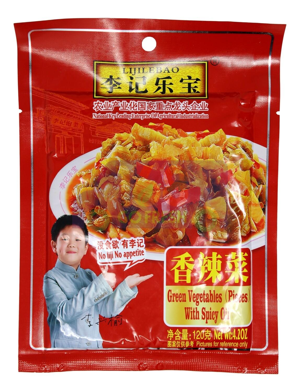 LIJILEBAO GREEN VEGETABLES W/ SPICY OIL (PIECES) 李记乐宝 香辣菜 (120G)