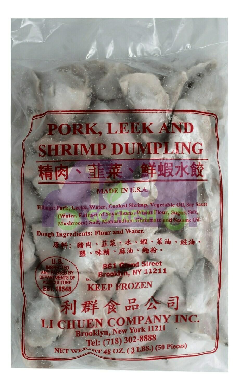 LI CHUEN - HANDMADE PORK LEEK SHRIMP DUMPLING 利群 精肉韭菜鲜虾水饺(3LB)