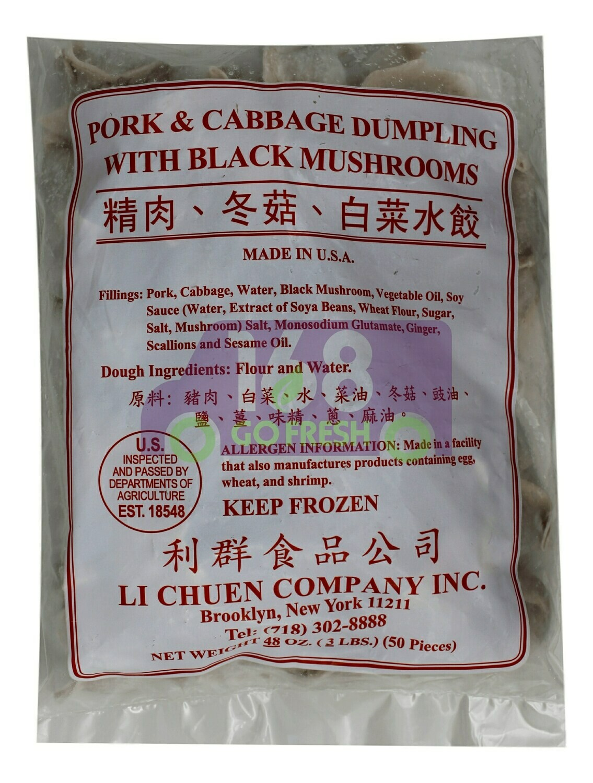 LI CHUEN PORK&CABBAGE DUMPLING WITH BLACK MUSHROOMS 利群 精肉冬菇白菜水饺(3LB)