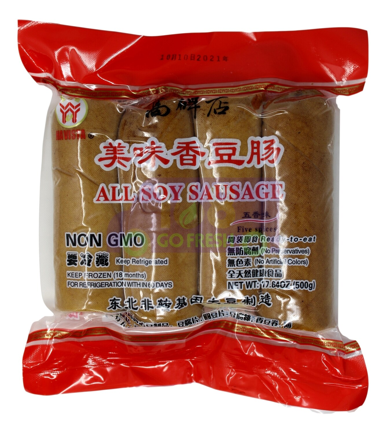 HAVISTA ALL SOY SAUSAGE FIVE SPICES FLA. 五谷丰 高碑店美味香豆肠 五香味(17.64OZ)