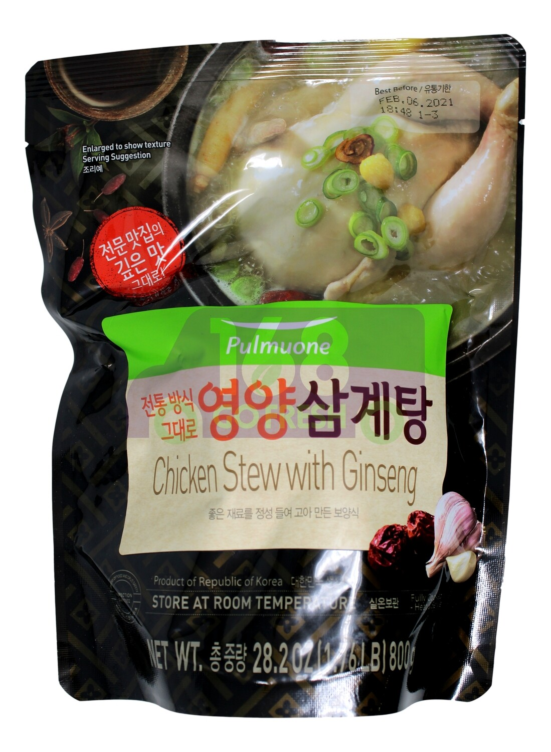 PULMUONE WHOLE COOKED CHICKEN  STEW WITH GINSENG 韩国产 Pulmuone即食人参红枣炖整鸡(800G)