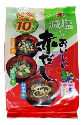 RED MISO SOUP BASE - LESS SODIUM 10BAGS 日本 减盐即食红味增油汤包 青葱 豆腐 紫菜三种口味装(6.14OZ)