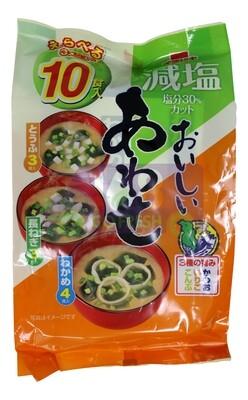 MISO SOUP BASE - LESS SODIUM 10BAGS 日本 减盐即食味增油汤包 青葱 豆腐 紫菜三种口味装(6.14OZ)