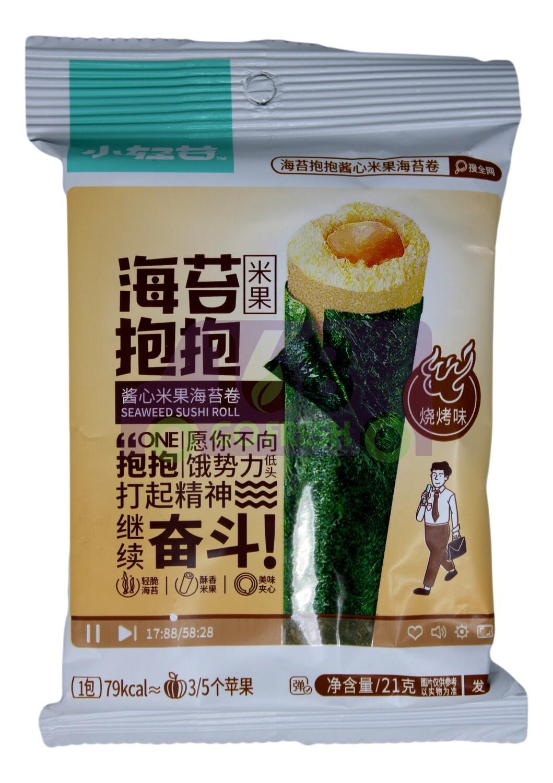 SUSHI SEAWEED ROLL-BBQ FLV 小青苔 酱心米果海苔卷 烧烤味(21G)