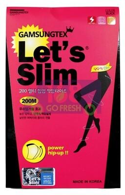 GAMSUNGTEX LET'S SLIM 200M Slimming Tights 韩国LET'S SLIM 200M黑色哑光提臀瘦腿裤袜(适穿于体重130磅以内)