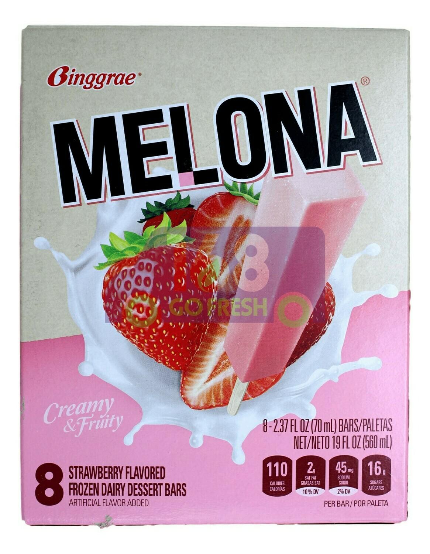 MELONA STRAWBERRY FLAVORED ICE BAR BINGGRAE - 草莓味冰棒(8条装)