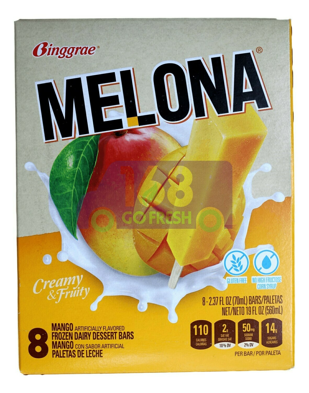 MELONA MANGO FLAVORED ICE BAR BINGGRAE - 芒果味冰棒(8条装)