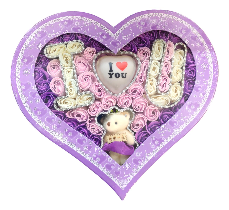 CREATIVE SOAP LOVE FOR VALENTINE'S 礼盒装 情人节肥皂花 (I LOVE YOU造型)(白粉紫)