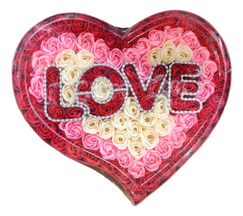 CREATIVE SOAP LOVE FOR VALENTINE'S 礼盒装 情人节肥皂花(LOVE 造型)(白粉红)