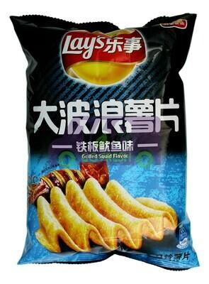 LAY'S POTATO CHIP GRILLED SQUID FLAVOR 乐事 大波浪薯片 铁板鱿鱼味(70G)