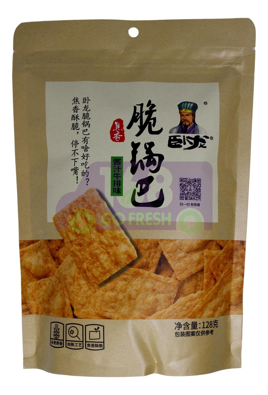 WOOLONG RICE CRISP CHIPS BEEF FLV 卧龙锅巴 酱汁牛排味(138G)