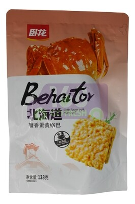 WOOLONG RICE CRISP CHIPS BEEF FLV 卧龙 北海道锅巴 蟹香蛋黄味(138G)