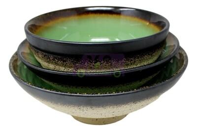 E473-BOWL 日式 裂纹釉瓷碗 汤碗(棕青) 3种尺寸