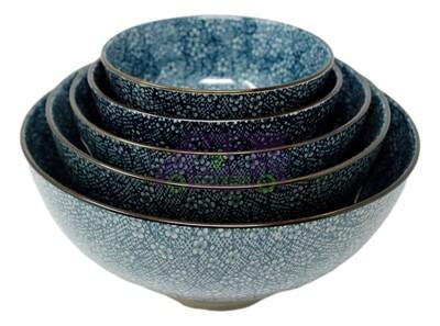 HH201-BOWL  瓷碗 企口碗(蓝花纹) 5种尺寸