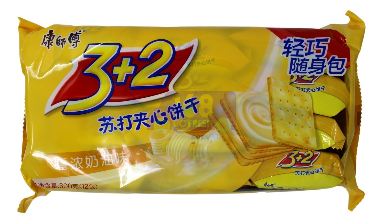 Soda Biscuit  康师傅 3+2苏打夹心饼干 香浓奶油味(300G)