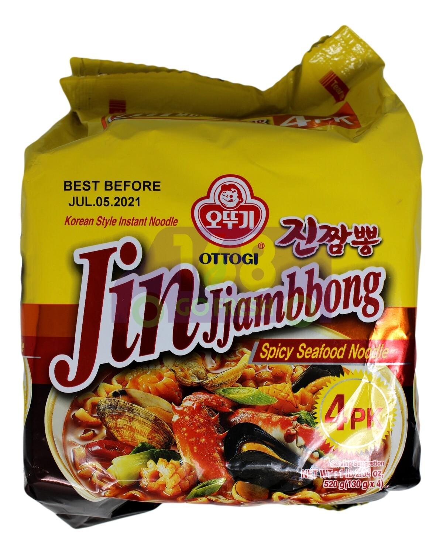OTTOGI JIN JJAMBBONG SPICY SEAFOOD NOODLE 韩国不倒翁 香辣海鲜炒码面(4包装)