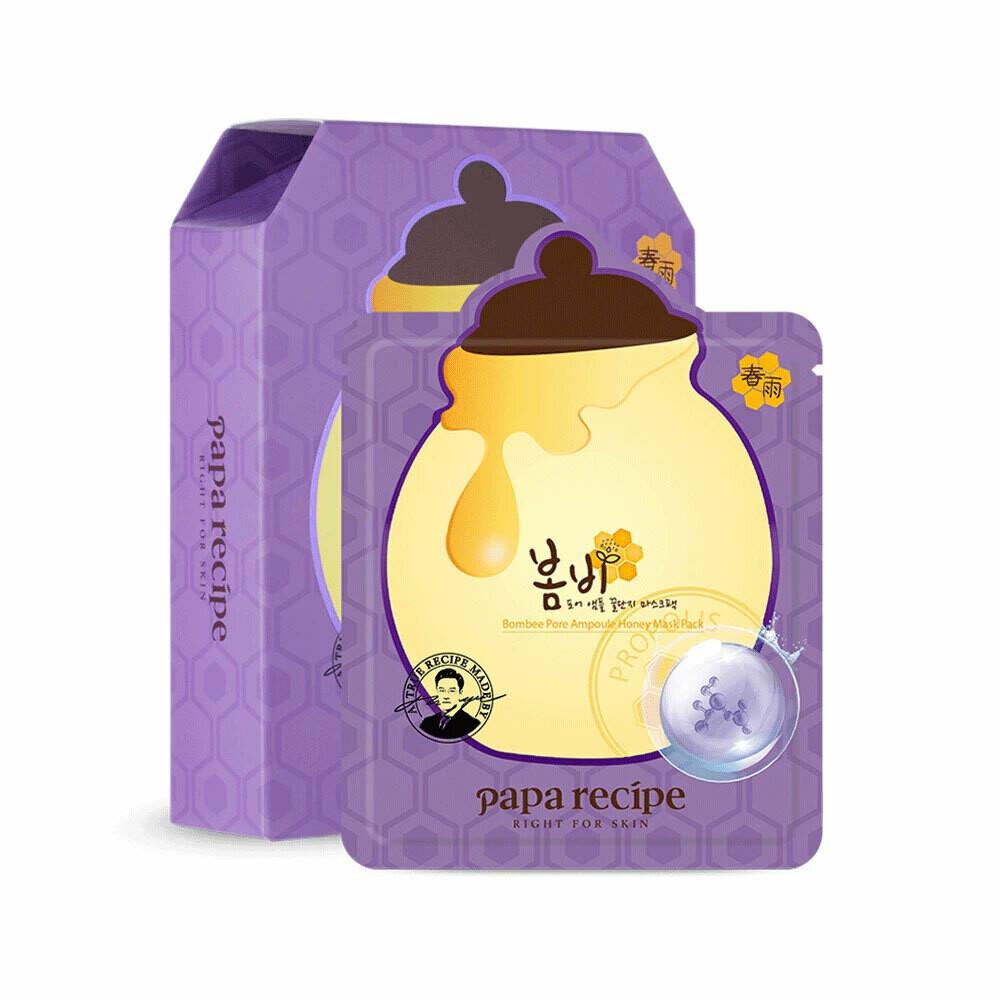 PAPA RECIPE BOMBEE PORE AMPOULE HONEY MASK韩国PAPA RECIPE春雨温和乳糖酸果酸收缩毛孔安瓶蜂蜜面膜10片(原价$26.49)-紫色盒