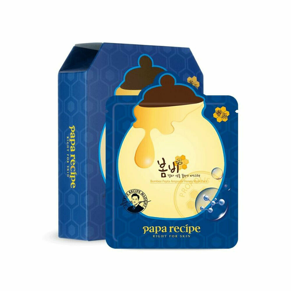 PAPA RECIPE BOMBEE PEPTA  AMPOULE HONEY MASK韩国PAPA RECIPE春雨蜂蜜蓝铜玻尿酸安瓶修护面膜 10片(原价$26.49)-蓝色盒