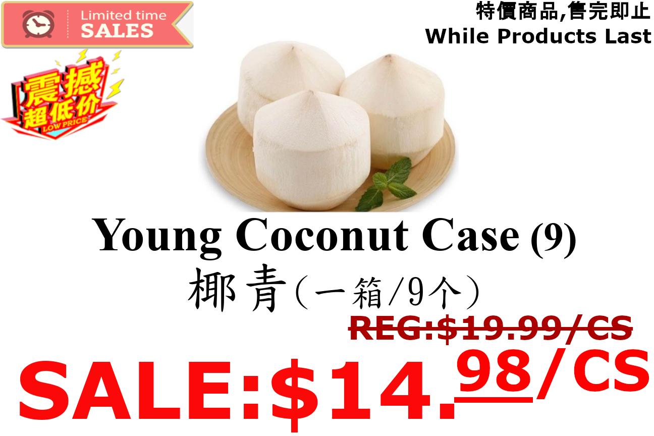[LIMIT TIME SALE 限时特价]Young Coconut (1 Case) 椰青 (一箱里有9个)