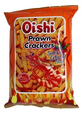 OISHI PRAWN CRACKERS SWEET EXTRA HOT FLAVOR 上好佳 鲜虾条 甜特辣味(90G)