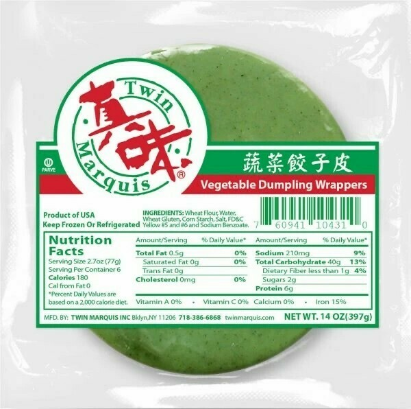 Twin Marquis Vegetable Dumpling Wrappers 真味 蔬菜饺子皮 绿(14OZ)