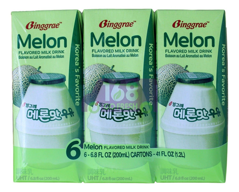 MELON FLAVORED MILK DRINK 韩国Binggrae 哈密瓜牛奶饮料(6*6.8FLOZ)