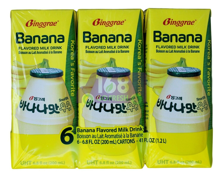 BANANA FLAVORED MILK DRINK 韩国Binggrae 香蕉味牛奶饮料(6*6.8FLOZ)