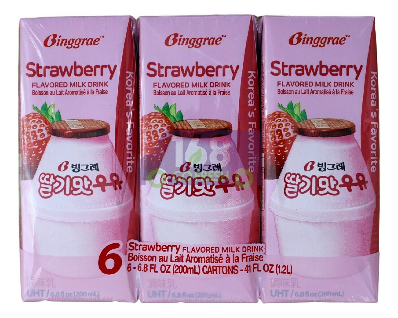STRAWBERRY FLAVORED MILK DRINK 韩国Binggrae 草莓味牛奶饮料(6*6.8FLOZ)