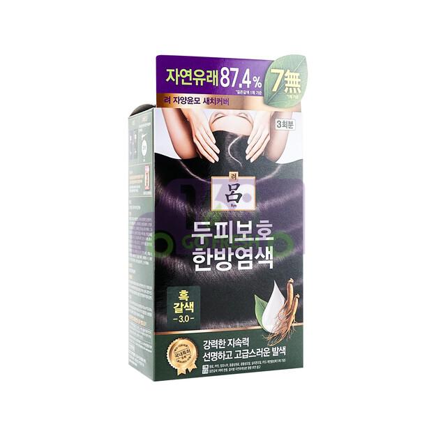 RYO  Mild Formula Gray Coverage Hair Dye Cream  - Black Brown 3.0 韩国RYO吕人参精华草本植物染发剂 染白发 - 黑褐色 3.0