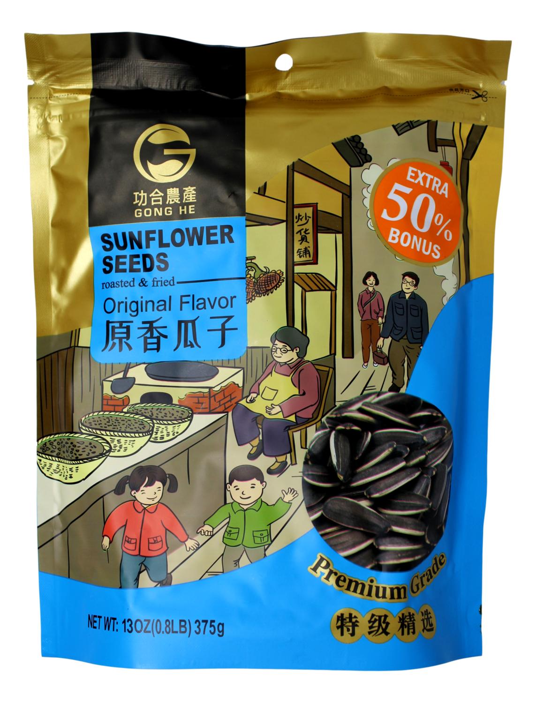 GONGHE SUNFLOWER SEEDS - ORIGINAL  FLA 功和农产 原味瓜子(葵花籽)(375G)