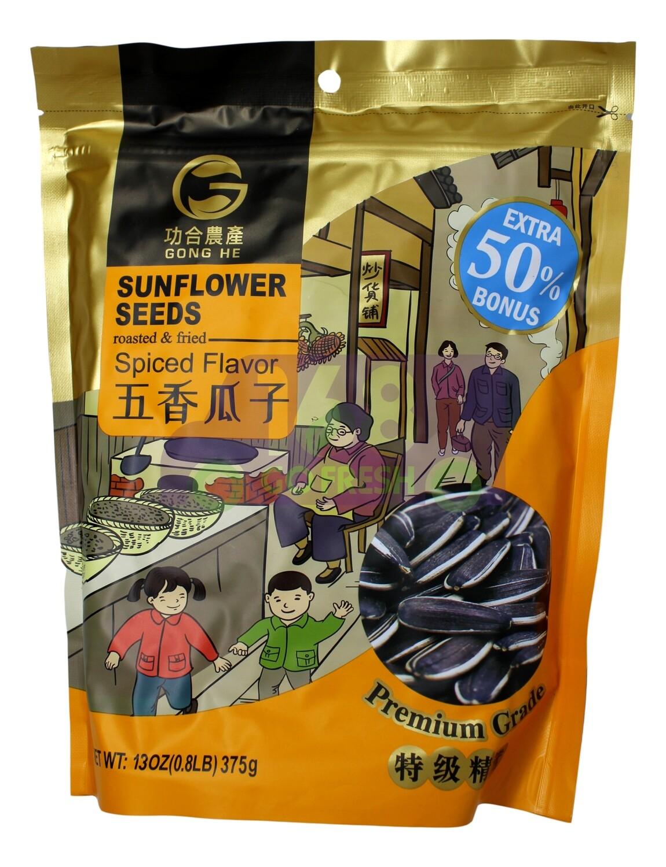 GONGHE SUNFLOWER SEEDS - SPICED FLA 功和农产 五香瓜子(葵花籽)(375G)