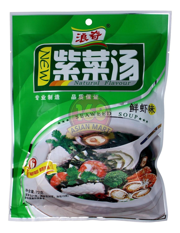 DRIED SEAWEED SOUP MIX 浪奇 紫菜汤 鲜虾味(72G)