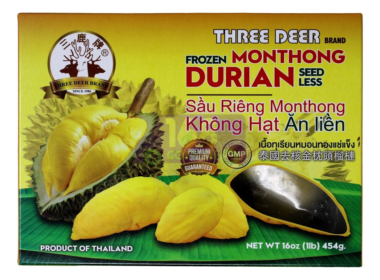 FROZEN SEEDLESS DURIAN MONTHONG GREAT FRUIT 三鹿 金枕头无仔榴莲肉(454G)
