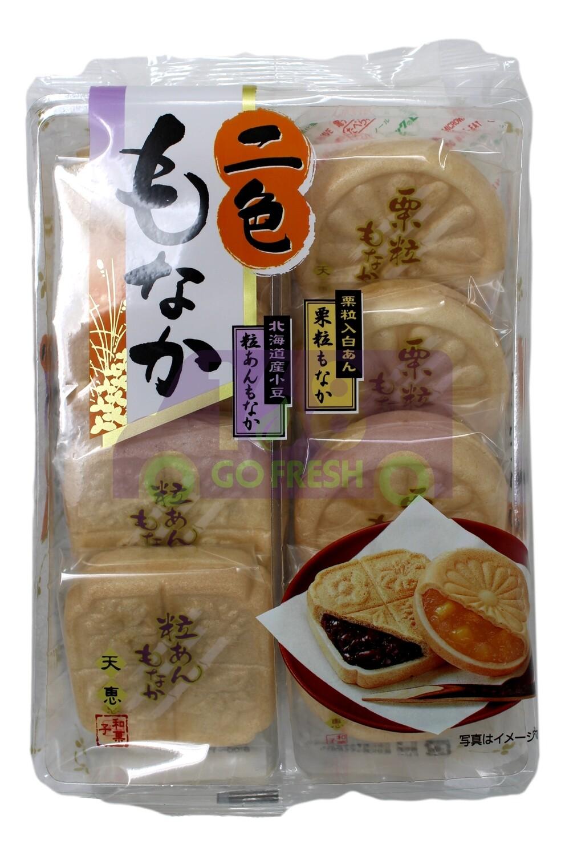 TENKEI NISHOKU MONAKA 天惠 两色豆馅烤饼 北海道红小豆和栗子饼(9.31OZ)