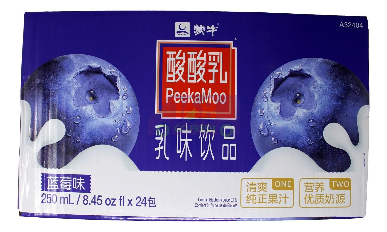 (整箱)PEEKAMOO MILKY DRINK- BLUEBERRY FLA 蒙牛 酸酸乳 乳味饮料 蓝莓味(250ml *24)