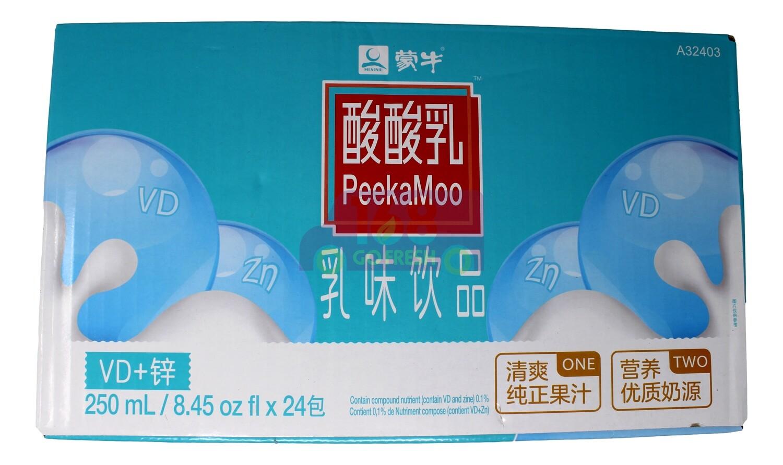 (整箱)PEEKAMOO MILKY DRINK- VD+ ZINC FLA 蒙牛 酸酸乳 乳味饮料 VD+锌(250ml *24)