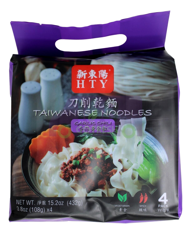 HTW TAIWANESE NOODLES-GARLIC CHILI 新东阳 刀削干面 香蒜黄金椒(4小包)
