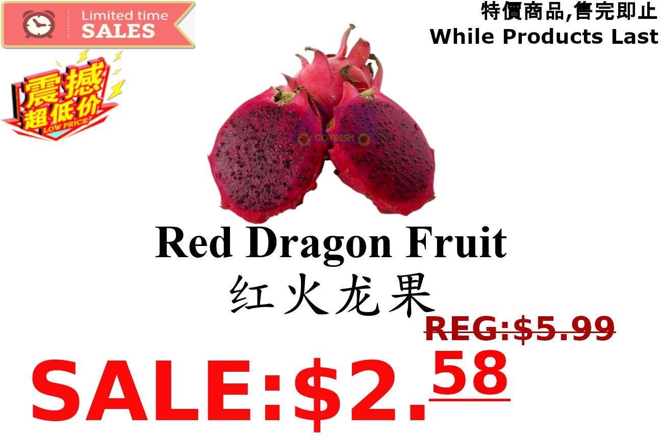 [LIMIT TIME SALE 限时特价] Red Dragon Fruit 红肉火龙果  (2.4-2.6LB)
