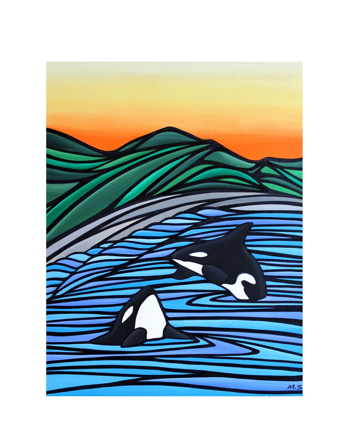 Giclee Print on Canvas- Orca Bay