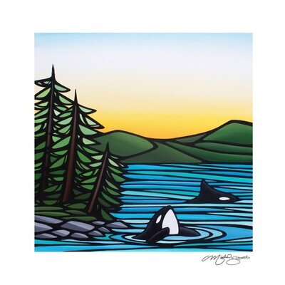 Giclee Print on Canvas- Two Orcas