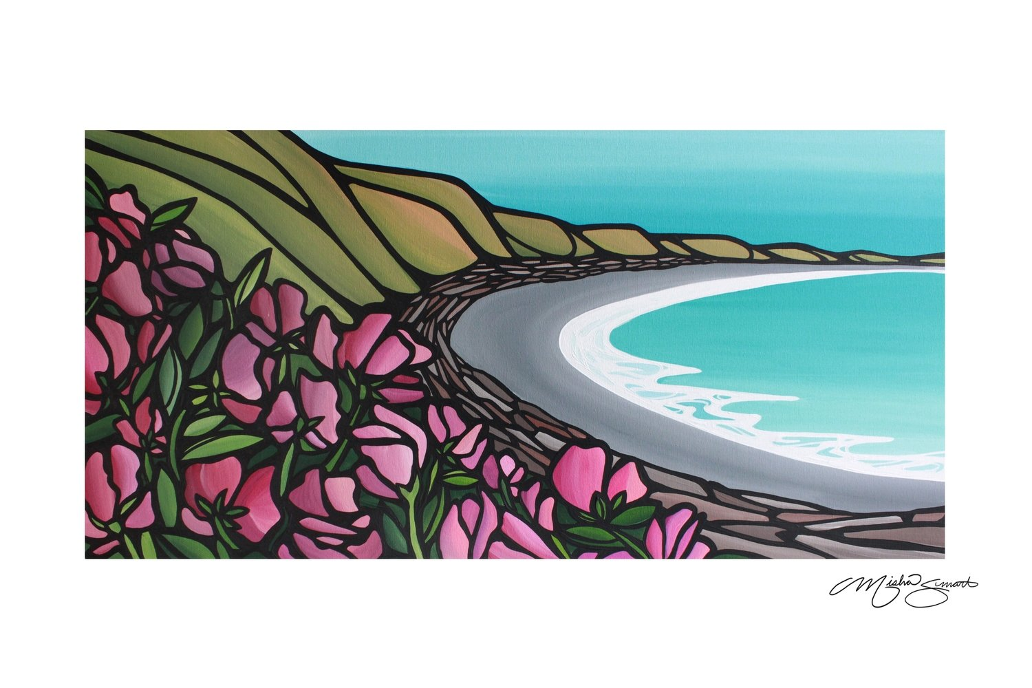 Giclee Print on Canvas- Among the Sweet Peas- Views of Clover Point