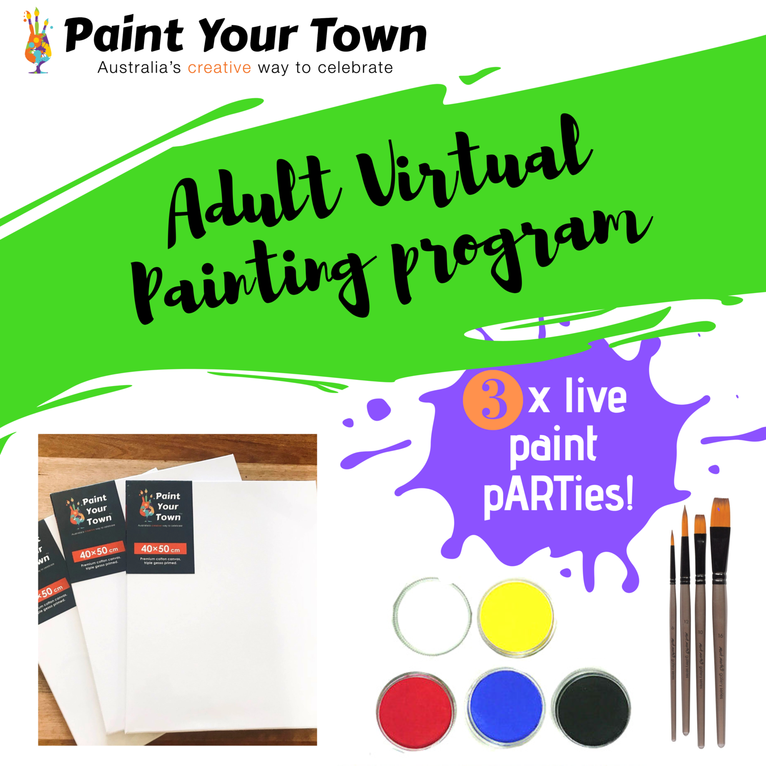 Adult Virtual Painting Program - 3 live paint pARTies! + materials