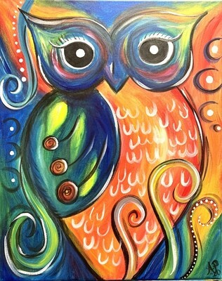 Rainbow Owl - Virtual Class (no supplies)