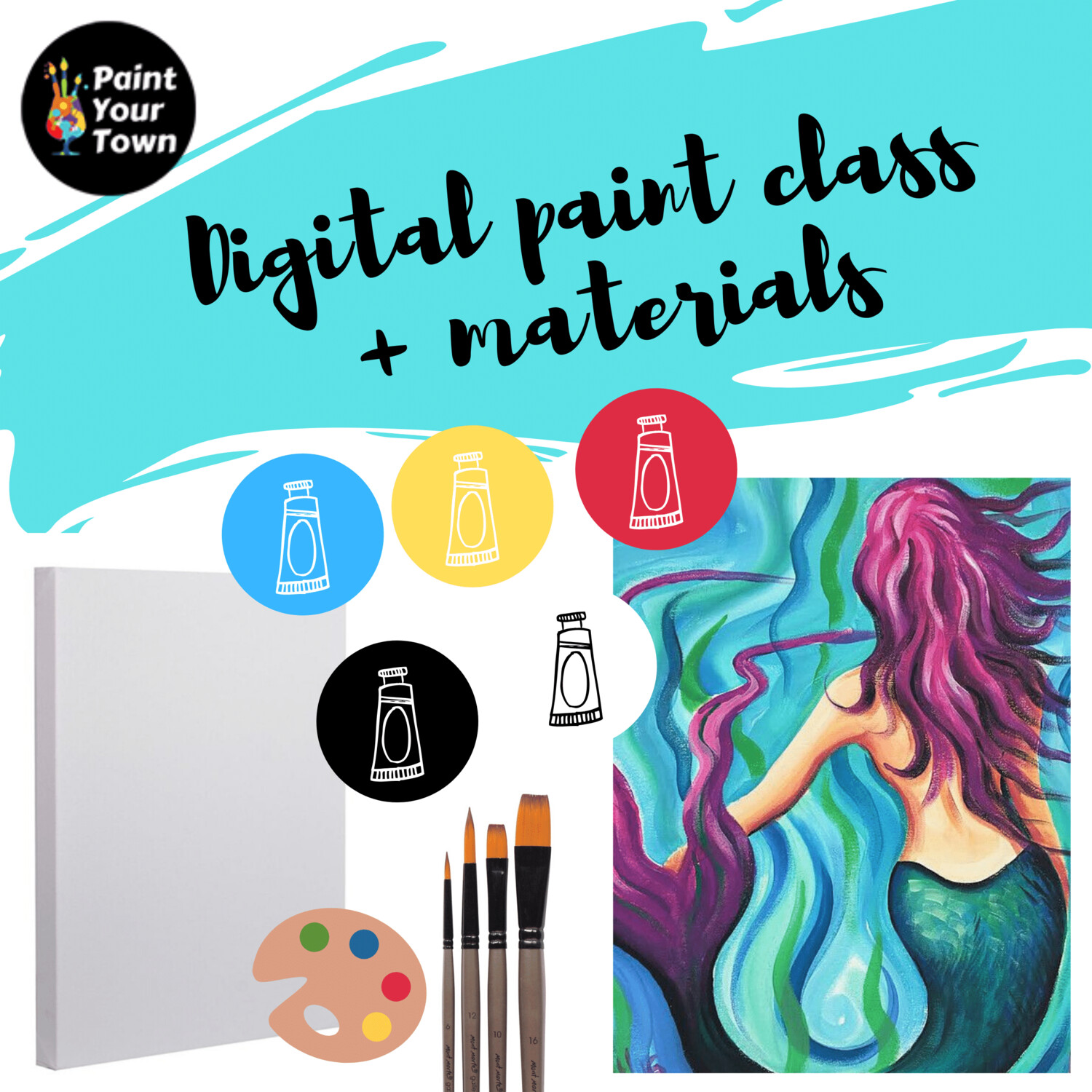 Mermaid - Virtual class  + written instructions + supplies