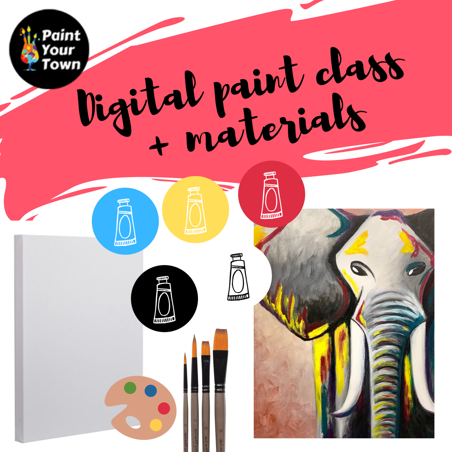 Elephant - Virtual class  + written instructions + supplies