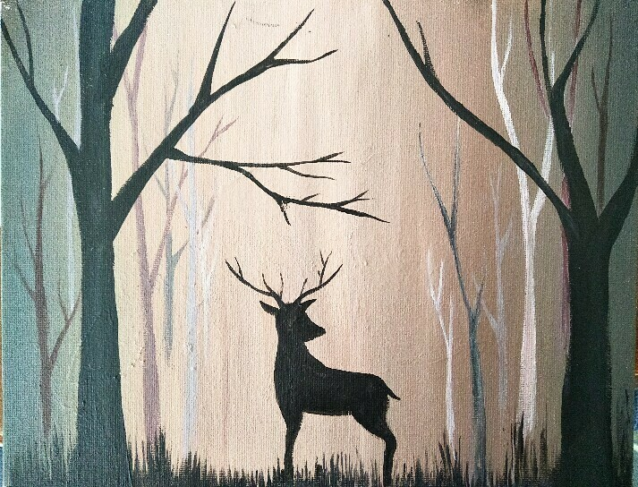 Deer in the woods LIVE/ ONLINE paint party Friday  2nd Oct 6PM -8PM